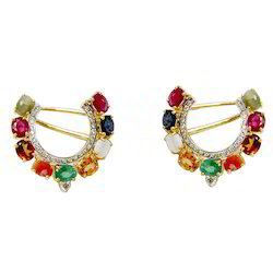 Gold Earrings Multicolored Navratna Earrings Exporter from Jaipur