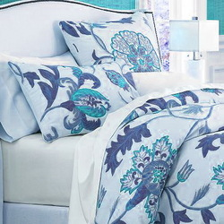Crewel Bedding Giverny Blue Duvet Cover Cotton