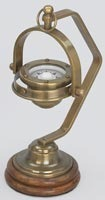 Solid Brass Gimball Compass Wooden Base