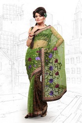 lush aloe vera green burgundy embroidered saree