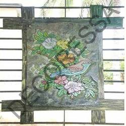 Slate Stone Murals With Wooden Frame Bird