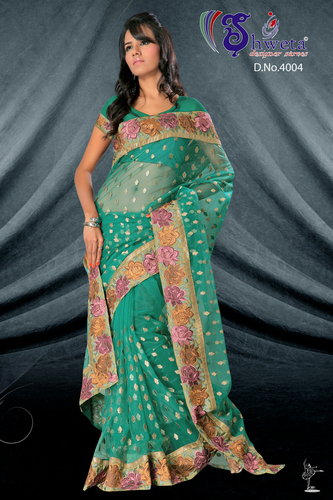 Net Saree Work