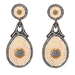 Diamond dangler Pearl earrings