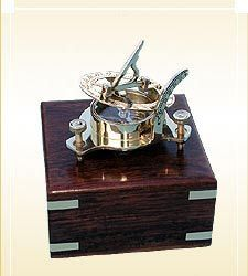Sundial Compass with Wooden Box