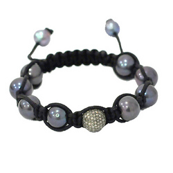 Diamond Pave Color Pearl Beaded Macrame Bracelets