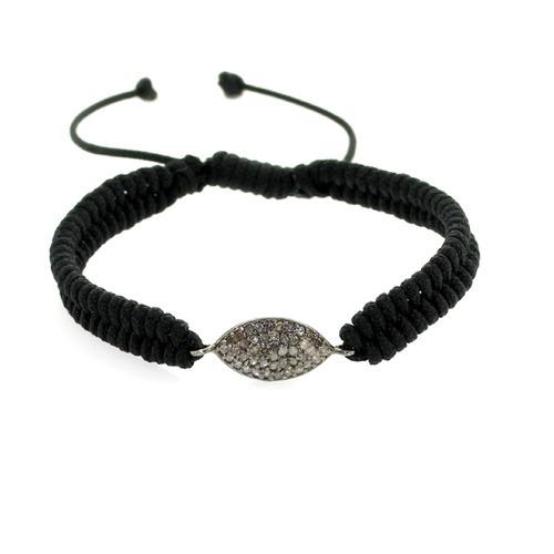 Diamond Evil Eye Charm Macrame Bracelet
