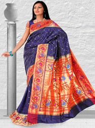 Turning Peacock Sarees with Checks