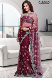 Wine Colour Designer Saree