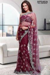 Wine Colour Designer Saree