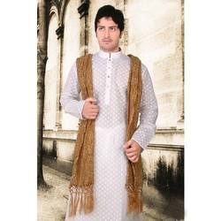 Peaceful White Silk Kurta With Stole