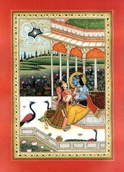 Radha Krishna Antique Paper Painting