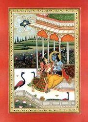 Radha+Krishna+Antique+Paper+Painting