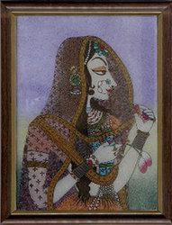 Mughal Woman Gemstone Paintings