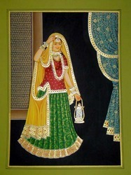 Royal Woman With Lamp Gold Painting