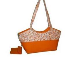Orange and White Canvas Bag