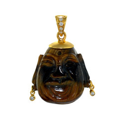 Buddha Shaped Tiger Eye Stone Pendant