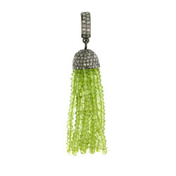 Peridot Gemstone Tassel Pendant Jewelry