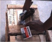 Packaging Solutions-To Fix Labels Onto Wooden Cases Using Hand Tacker