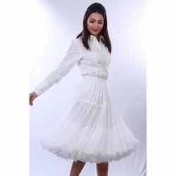 knee length white skirts
