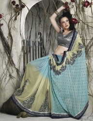 Sareegalaxy - Sky Blue Faux Georgette Saree With Blouse