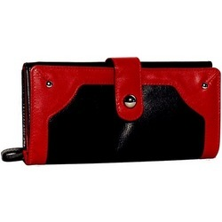 Black & Red Leather Women Wallet
