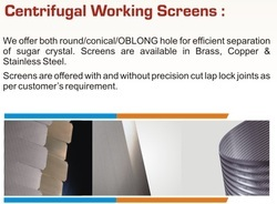 Centrifugal Working Screens