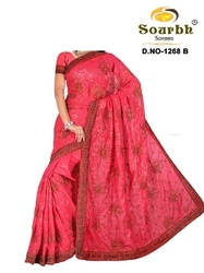 Georgette Saree With Embroidery Works (1268-B)