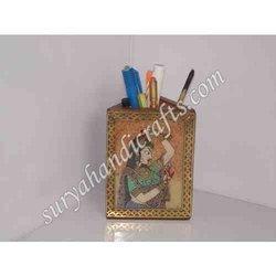 Teak Wood Geme Stone Painting Pen Stand
