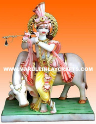 Marble Krishn Statues with Cow