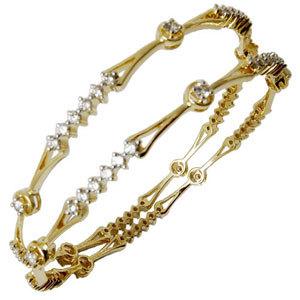 With Designer Looks, Light Weight Diamond Gold Bangles