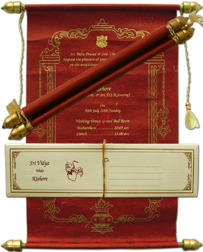 Custom Printed Scroll Invitations For Wedding
