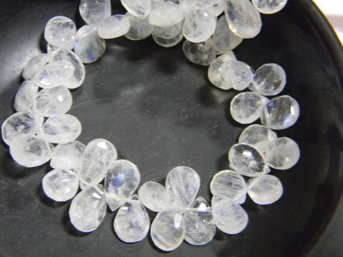 Rainbow Moonstone Faceted Pear Briolettes