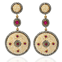 Dangler Diamond Pearl Earrings