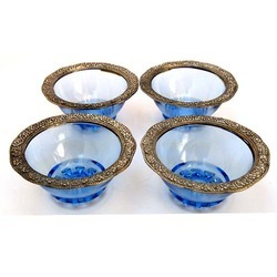 White Metal with Blue Glass Bowl