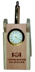 Wooden Pen Stand With Clock & Pen