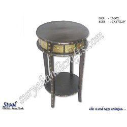 Wooden Table Brass Iron