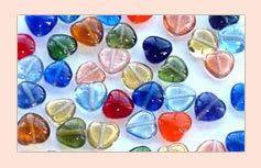Glass Mixed Heart Beads