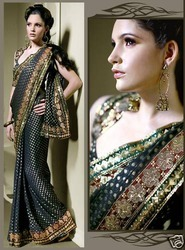 Black Viscose Saree With Blouse (m62n)