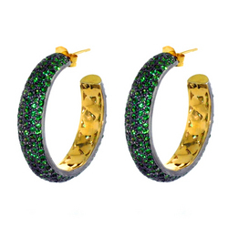 Tsavorite studded Hoop Earrings