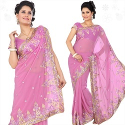 Maiden Pink Faux Georgette Saree With Blouse- SN439