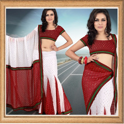 White Faux Georgette Lehenga Style Saree With Blouse
