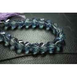 Blue Mystic Rock Crystal Diamond Faceted Twisted Rondelles