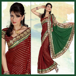 Maroon Viscose Saree With Blouse (173)