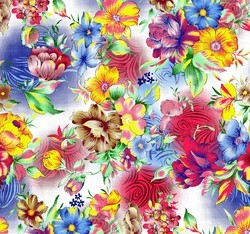 Floral Design Discharge Print Fabric