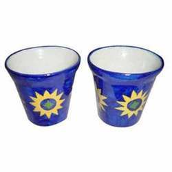 Blue Pottery Flower Cups
