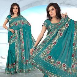 Teal Faux Georgette Lehenga Style Saree With Blouse