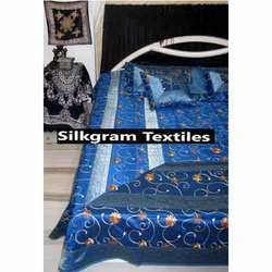Blue Silk Bed Sheet Set