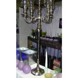 5 Light Candelabra with Glass Hurricane