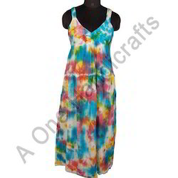 Printed Hand Tie Dyed Cotton Fabric Dress