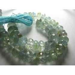 8 Inches - Nicer - Natural Aquamarine Faceted Rondelles
